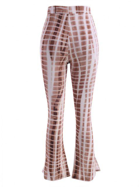 Pantalones Acampanados de Tie-dye con Cordón - café S Mobile