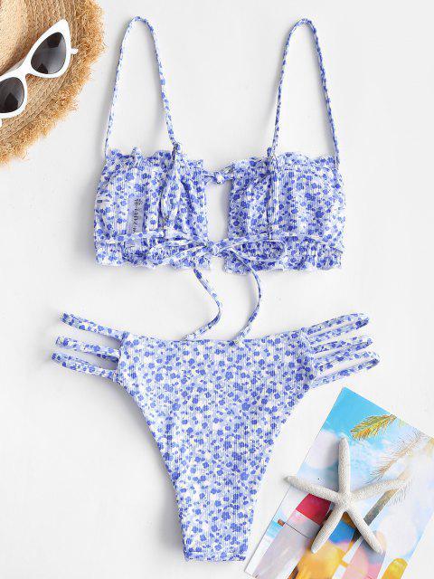 ZAFUL Costume da Bagno Bikini a Incrocio a Fiorellini con Fiocco con Spalline - Azzurro S Mobile