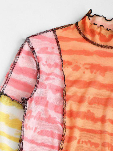 chic Tie Dye Contrast Stitching Mesh Baby Tee - LIGHT PINK L Mobile
