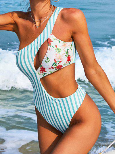 ZAFUL Ribbed Flower Striped Cutout One-piece Swimsuit - Light Blue S