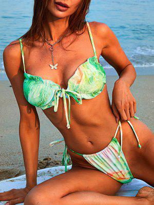 zaful ZAFUL Tie Dye Auspicious Clouds Lettuce Trim String Bikini Swimwear