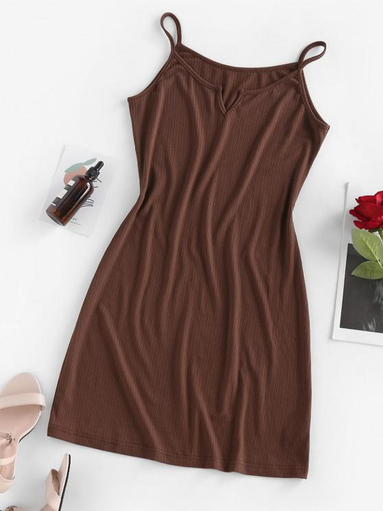 ZAFUL Ribbed V Notched Bodycon Dress - قهوة S