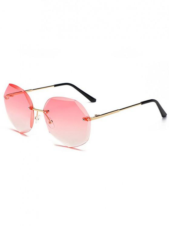 shop Irregular Ombre Rimless Sunglasses - LIGHT PINK