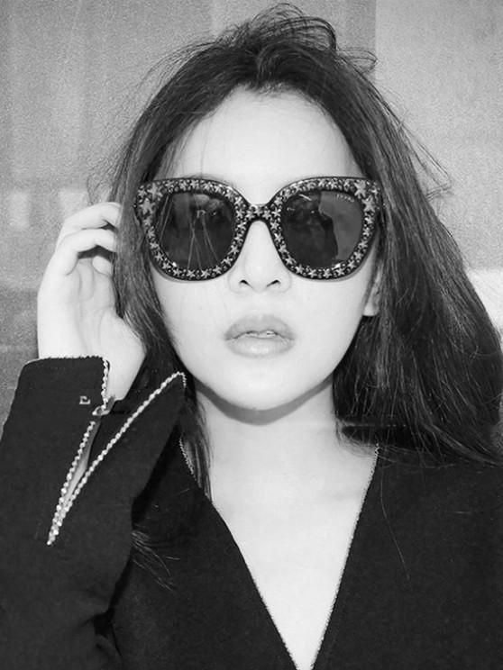 shops Oversize Round Frame Star Rhinestone Studded Sunglasses - BLACK