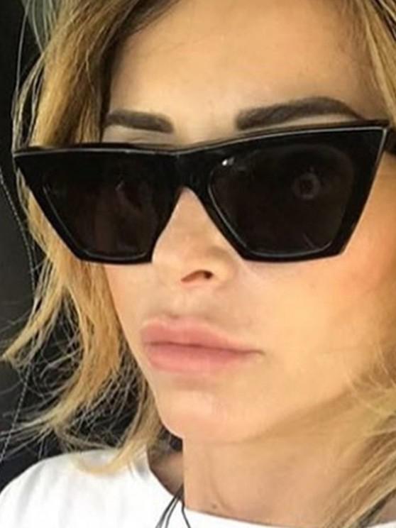 Occhiali da Sole Quadrati con Montatura Curva Intagliata - Nero