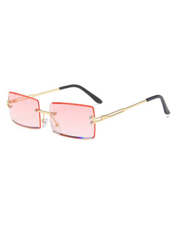 Rectangle Frame Tinted Rimless Metal Sunglasses - وردي فاتح