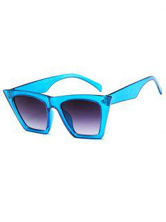 Square Frame Tip Gradient Tinted Sunglasses - Crystal Blue