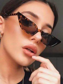 Eye Frame Slim Tinted Anti UV Sunglasses - Leopard