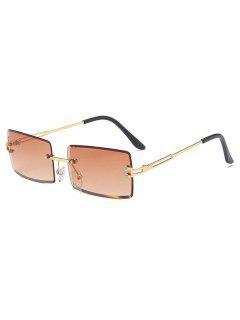 Rectangle Frame Tinted Rimless Metal Sunglasses - Tan