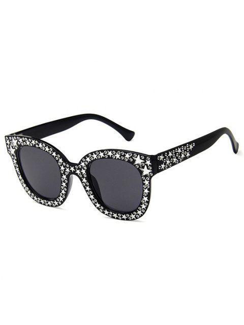 shops Oversize Round Frame Star Rhinestone Studded Sunglasses - BLACK  Mobile