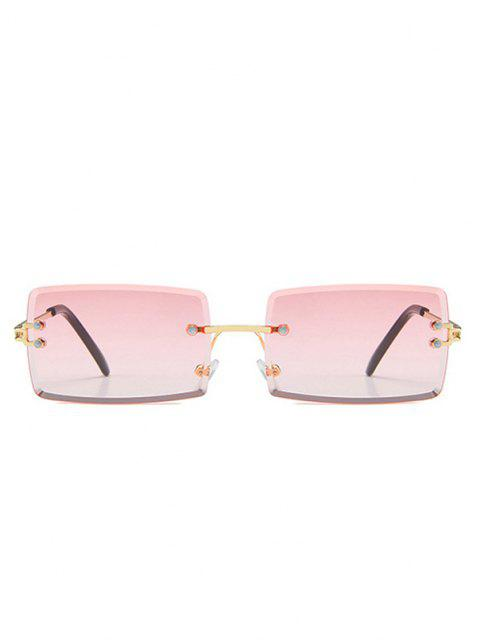 best Rectangle Frame Tinted Rimless Metal Sunglasses - LIGHT PINK  Mobile