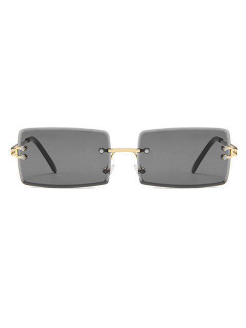 Rechteckrahmen Getönt Randlose Metallsonnenbrille - Schwarz  Mobile