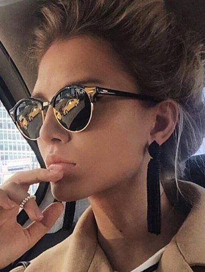 Round Frame Half-Rim Reflective Sunglasses - Black