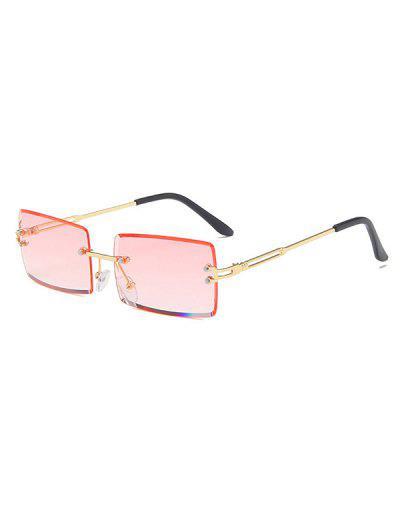 Rectangle Frame Tinted Rimless Metal Sunglasses - Light Pink