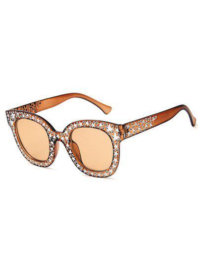 Übergroße Runde Rahmen Sterne Strass Verzierte Sonnenbrille - Tan