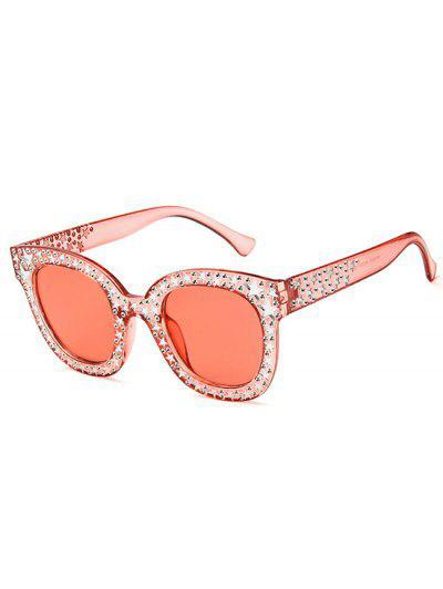 Oversize Round Frame Star Rhinestone Studded Sunglasses - Light Pink