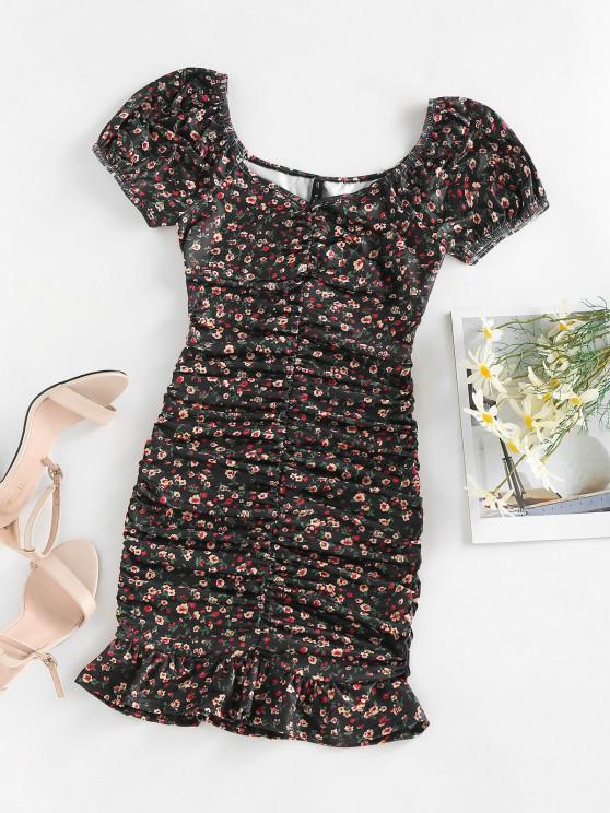 best ZAFUL Ditsy Print Puff Sleeve Ruched Mini Mermaid Dress - BLACK S