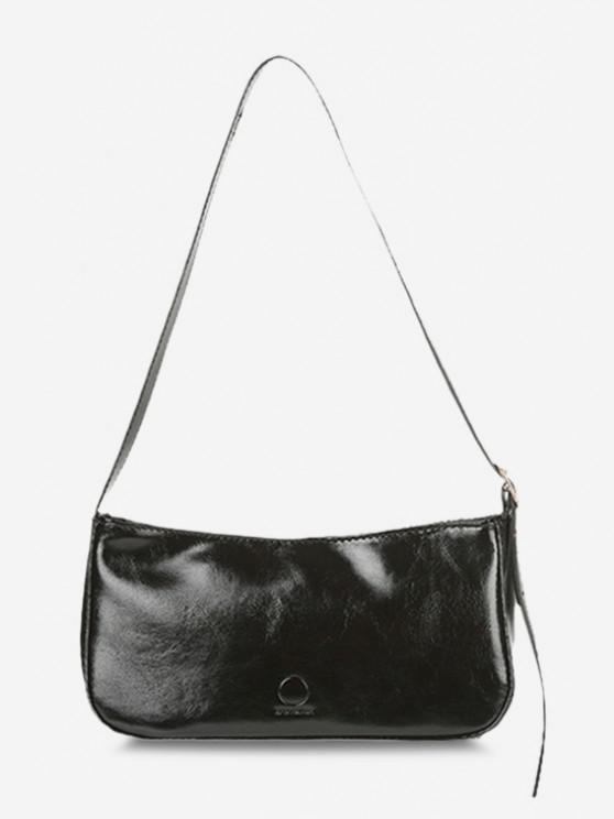 ladies Minimalistic Buckle Strap Solid Shoulder Bag - BLACK