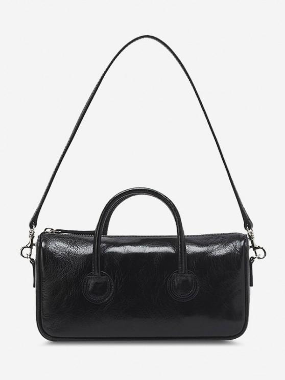 online Solid Dual Handle Mini Shoulder Bag - BLACK