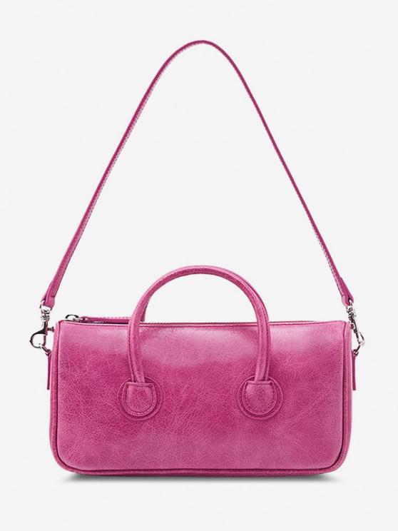 hot Solid Dual Handle Mini Shoulder Bag - ROSE RED
