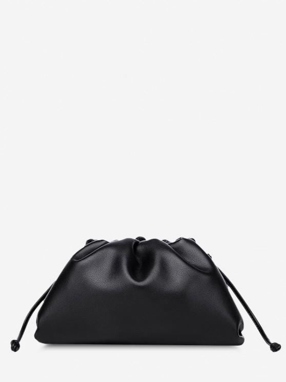outfit Solid Ruched Knot Detail Shoulder Bag - BLACK