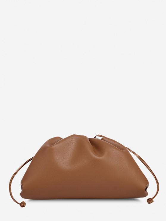 outfits Solid Ruched Knot Detail Shoulder Bag - CARAMEL