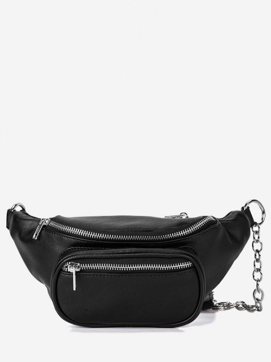 shops Zippers Half Chain Chest Bag - BLACK