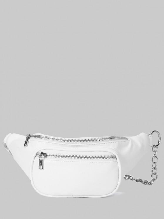 latest Zippers Half Chain Chest Bag - WHITE