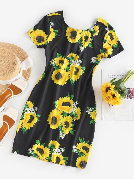 new ZAFUL Sunflower Print Open Back Bodycon Dress - BLACK XL