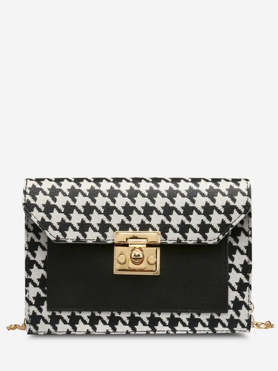 fancy Houndstooth Print Spliced Twist-Lock Crossbody Bag - BLACK
