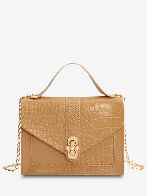 buy Faux Pearl Chain Crossbody Bag - APRICOT