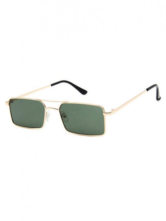 womens Rectangle Crossbar Metal Sunglasses - DARK SEA GREEN