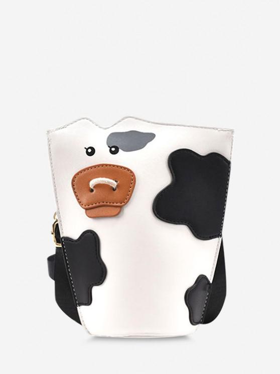 Cow Print Spliced Crossbody Bucket Bag - أبيض