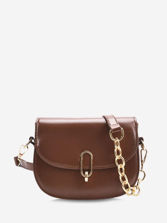 Half Chain Flap Crossbody Saddle Bag - قهوة
