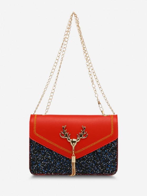Deer Head Sequins Tassels Shoulder Bag - أحمر