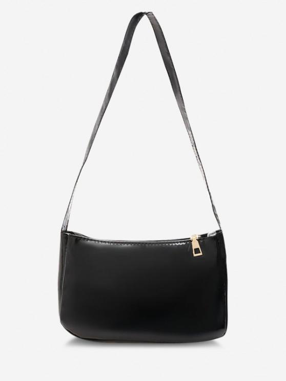 Solid Faux Patent Leather Shoulder Bag - أسود