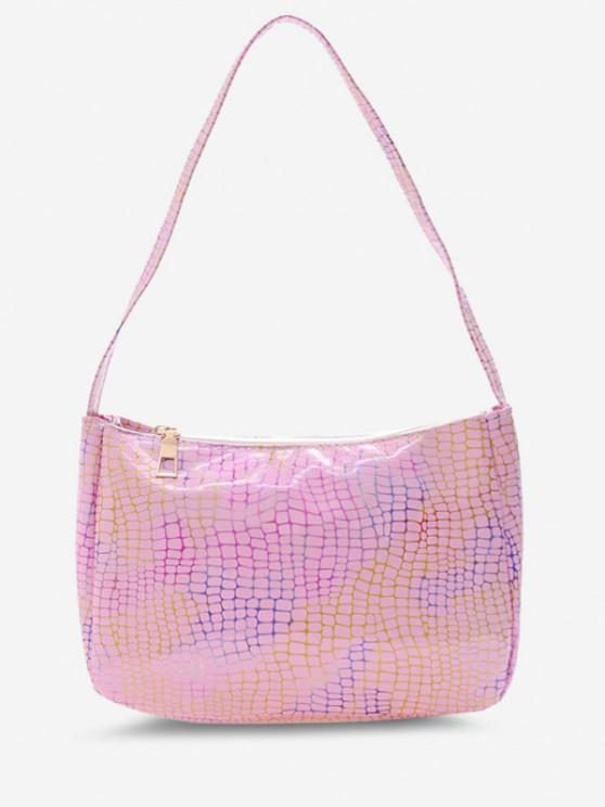 outfit Colorful Metallic Snake Print Casual Shoulder Bag - LIGHT PINK