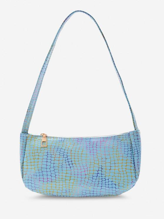 chic Colorful Metallic Printed Casual Shoulder Bag - TRON BLUE