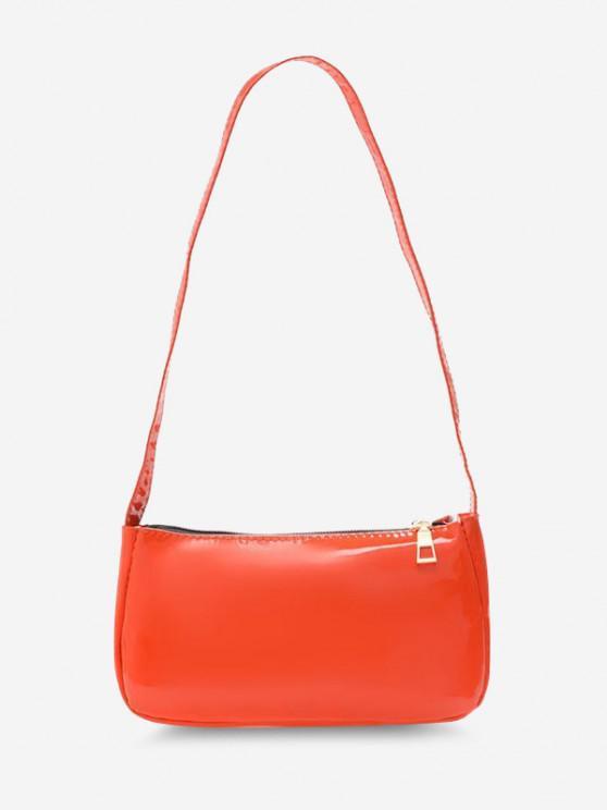 Minimalistic Faux Patent Leather Shoulder Bag - برتقالي قاتم