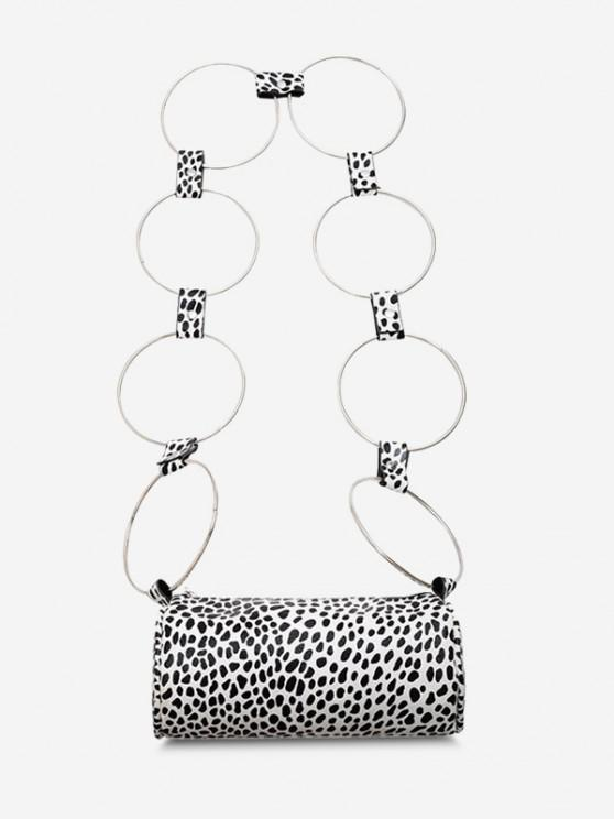 Cow Print Ring Strap Cylinder Crossbody Bag - أسود