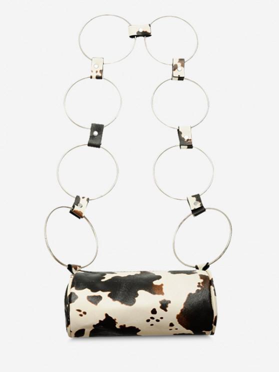 new Cow Print Ring Strap Cylinder Crossbody Bag - LIGHT KHAKI