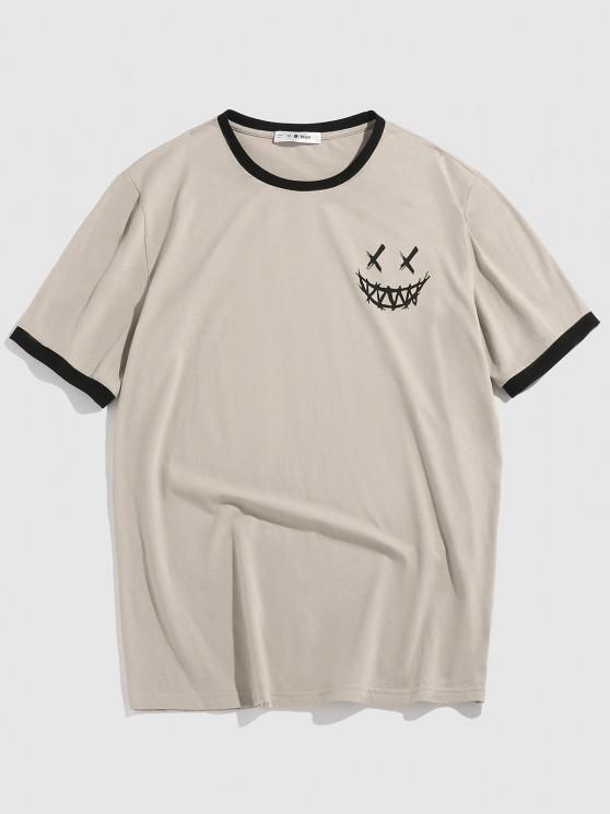 ZAFUL Happy Face Short Sleeve Ringer T-shirt - القهوة الخفيفة L