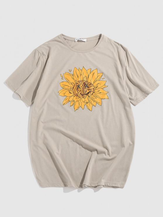chic ZAFUL Funny Face Flower Basic Short Sleeve T-shirt - LIGHT COFFEE XL