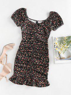 ZAFUL Ditsy Print Puff Sleeve Ruched Mini Mermaid Dress - Black M