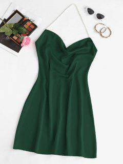 Faux Pearl Halter Mini Party Dress - Deep Green M