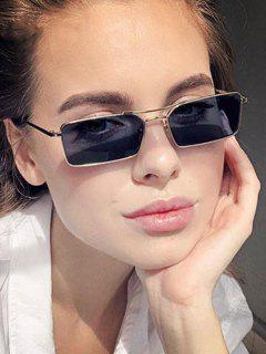 Rectangle Crossbar Metal Sunglasses - Gray
