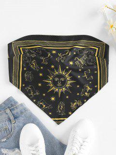 ZAFUL Sun Zodiac Print Tie Back Strapless Bandana Top - Black S