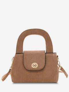 Ribbed Corduroy Dual Handle Twist-Lock Crossbody Bag - Light Brown