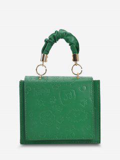 Embossed Ruched Strap Flap Shoulder Bag - Medium Forest Green