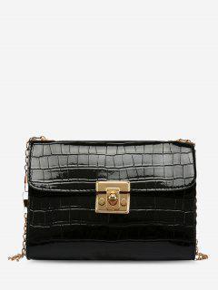 Embossed Twist-Lock Chain Crossbody Bag - Black